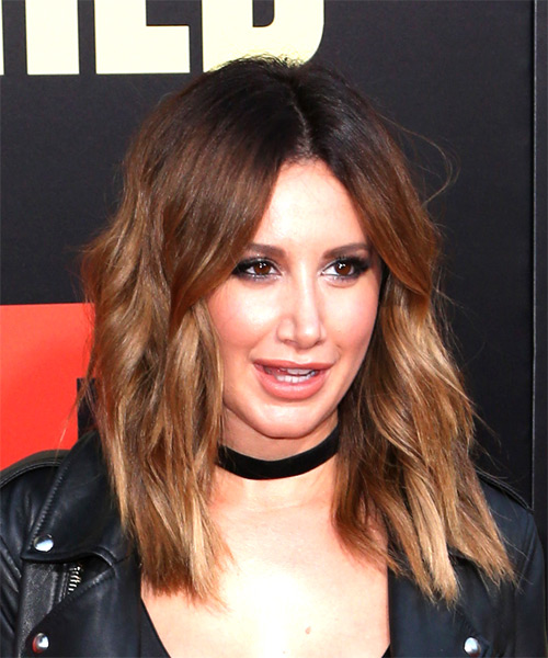Ashley Tisdale Medium Wavy Casual Bob  Hairstyle   - Light Brunette - Side on View