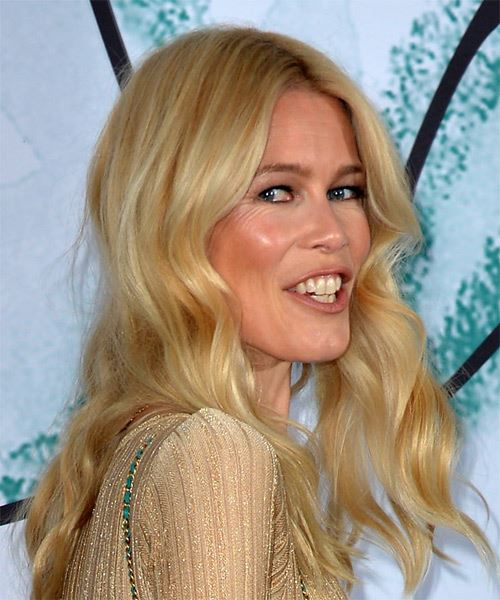 Claudia Schiffer Long Wavy Casual    Hairstyle   - Light Blonde Hair Color - Side on View