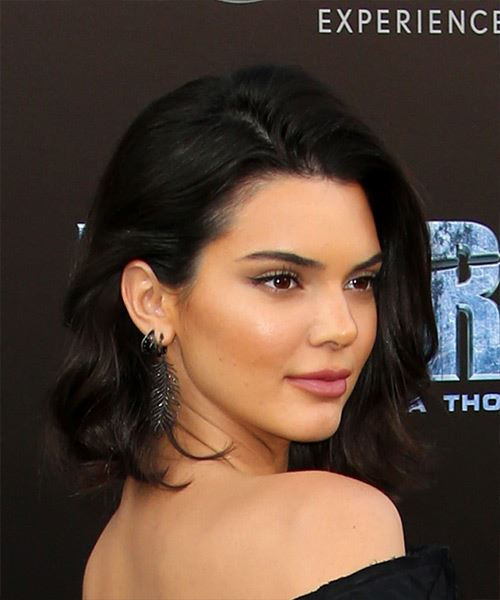 Kendall Jenner Medium Straight Casual Bob  Hairstyle   - Dark Brunette - Side on View