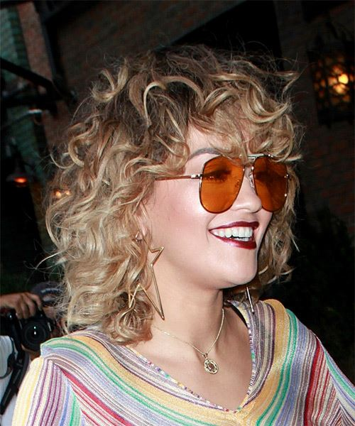 Rita Ora Medium Curly Casual Shag  Hairstyle with Layered Bangs  - Light Brunette - Side on View
