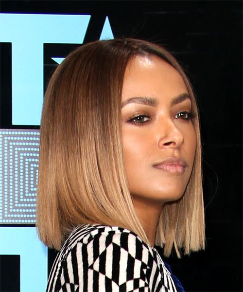 Kat Graham Medium Straight Formal  Bob  Hairstyle   - Light Brunette Hair Color - Side on View