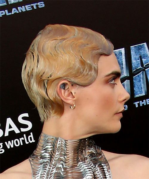Cara Delevingne Short Straight Formal Pixie  Hairstyle   - Light Blonde - Side on View