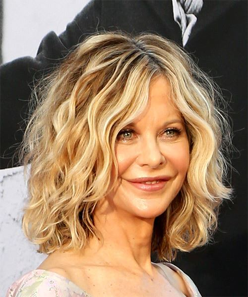 Meg Ryan Medium Wavy Casual  Bob  Hairstyle   - Light Blonde Hair Color - Side on View