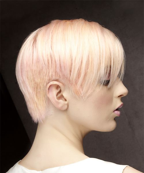 Short Straight Formal Pixie  Hairstyle with Side Swept Bangs  - Pink - Side on View