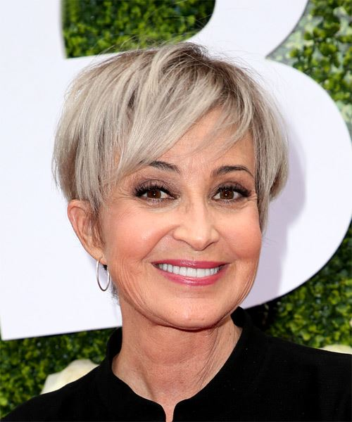 Annie Potts     Light Grey Pixie  Cut with Side Swept Bangs  - Side on View