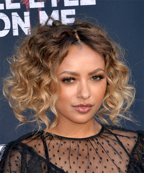 Kat Graham Short Curly Casual Bob  Hairstyle   - Dark Blonde - Side on View