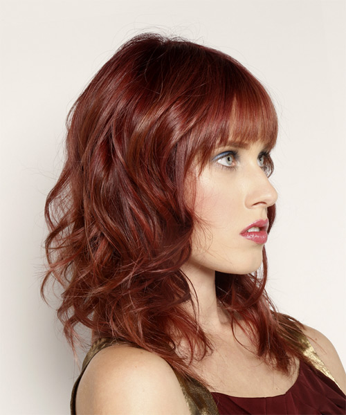 Long Wavy Casual    Hairstyle with Blunt Cut Bangs  - Dark Red Hair Color - Side on View