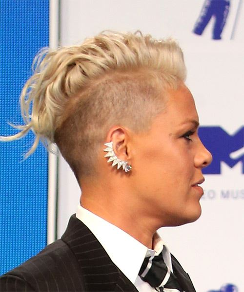 Pink Short Wavy Alternative  Mohawk  Hairstyle   - Light Platinum Blonde Hair Color - Side on View