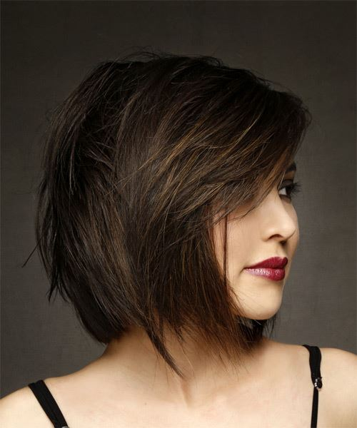 Short Straight Formal Bob  Hairstyle with Side Swept Bangs  - Medium Brunette - Side on View
