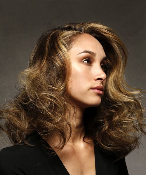 Long Wavy Casual    Hairstyle   -  Brunette Hair Color with  Blonde Highlights - Side on View