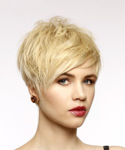 Short Straight Casual  Pixie  Hairstyle with Side Swept Bangs  - Light Honey Blonde Hair Color - Side on View