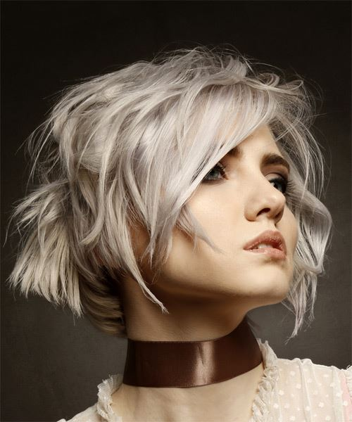 Short Wavy   Light Platinum Blonde Bob  Haircut with Side Swept Bangs  - Side on View