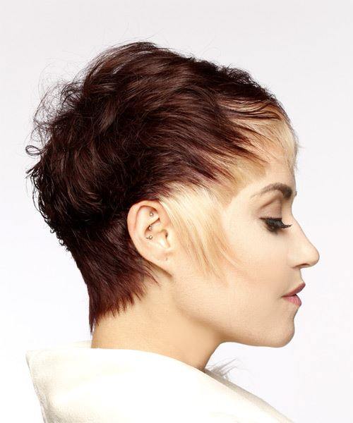 Light Blonde and Mahogany Two-Tone Pixie  Cut with Asymmetrical Bangs  - Side on View