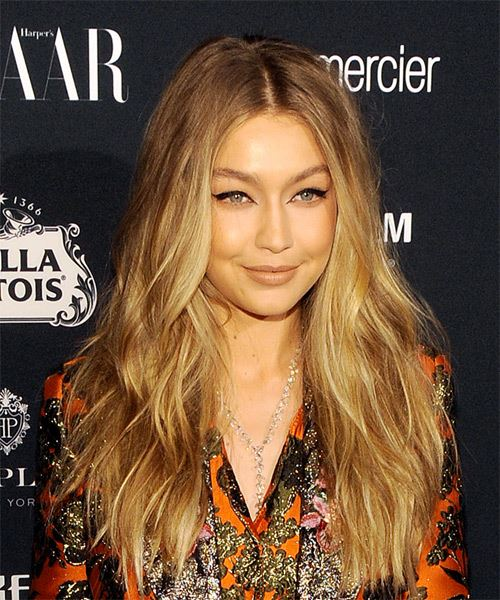 Gigi Hadid Long Wavy Casual   Hairstyle   - Medium Blonde (Honey) - Side on View