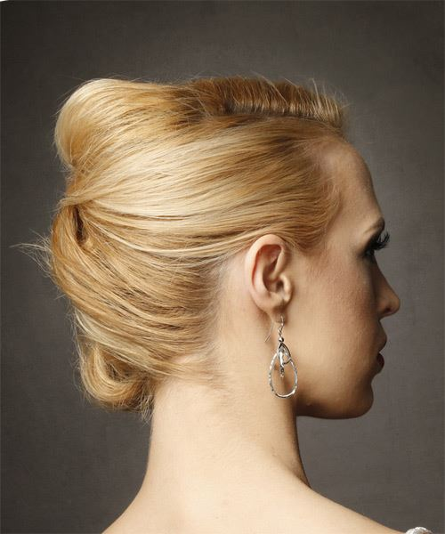 Long Straight   Light Golden Blonde  Updo  with Side Swept Bangs  - Side on View
