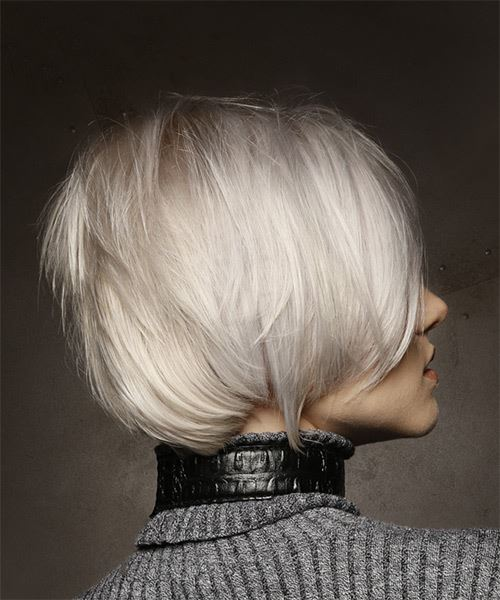 Short Straight   Light Platinum Blonde Shag  Hairstyle with Side Swept Bangs  - Side on View