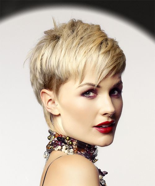 Light Blonde Pixie  Cut with Razor Cut Bangs  - Side on View