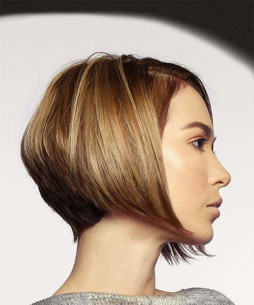 Short Straight Casual Bob  Hairstyle   - Dark Blonde - Side on View