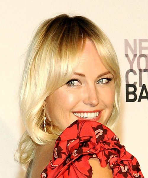 Malin Akerman Medium Straight Casual   Hairstyle with Layered Bangs  - Light Blonde - Side on View