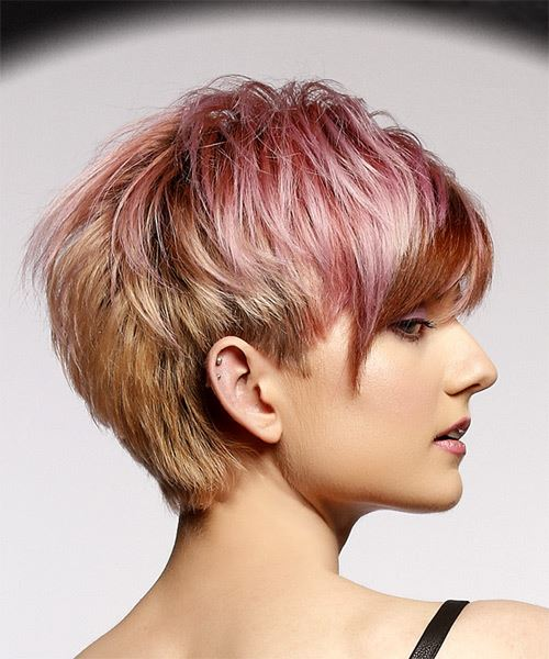 Pink  Pixie  Cut with Layered Bangs  and  Red Highlights - Side on View