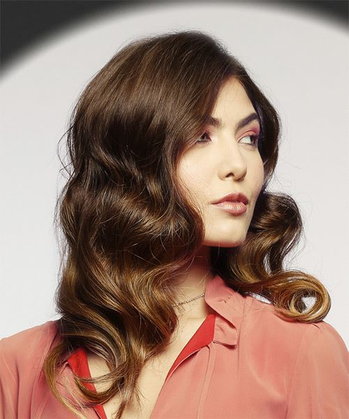Medium Wavy Casual   Hairstyle   - Medium Brunette - Side on View