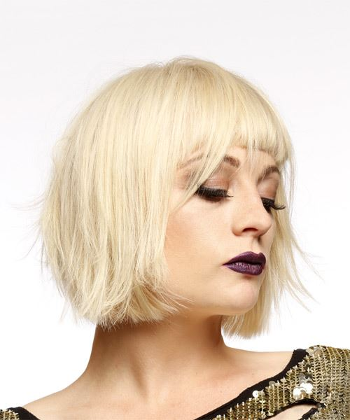 Short Straight Casual  Bob  Hairstyle with Blunt Cut Bangs  - Light Blonde Hair Color - Side on View