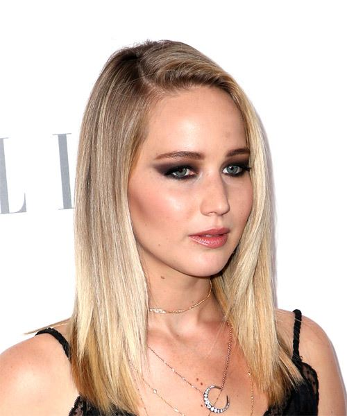 Jennifer Lawrence Medium Straight Casual    Hairstyle   - Light Blonde Hair Color - Side on View