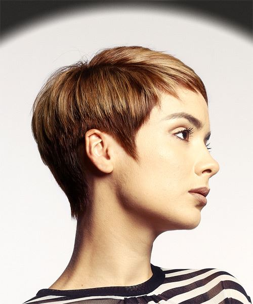 Short Straight Casual Pixie Hairstyle With Asymmetrical Bangs   Red Hair  Color   Side On View