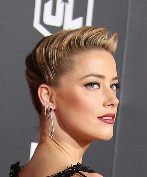 Amber Heard Long Wavy Formal   Updo Hairstyle   - Medium Blonde Hair Color - Side on View