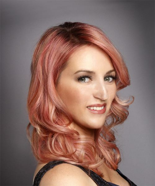 Medium Wavy Formal   Hairstyle with Side Swept Bangs  - Pink - Side on View
