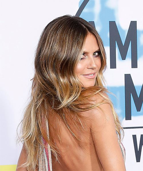 Heidi Klum Long Wavy Casual    Hairstyle   - Medium Blonde Hair Color - Side on View