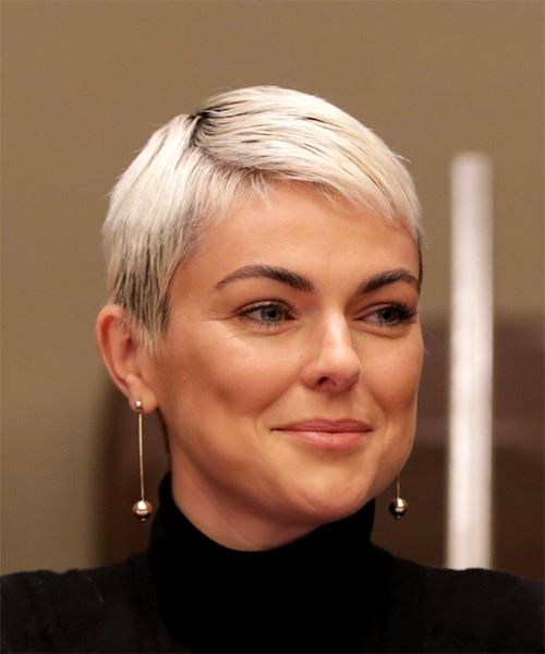 Serinda Swan     Light Platinum Blonde Pixie  Cut with Layered Bangs  - Side on View