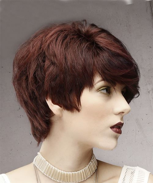 Short Straight Formal  Pixie  Hairstyle with Side Swept Bangs  - Dark Red Hair Color - Side on View