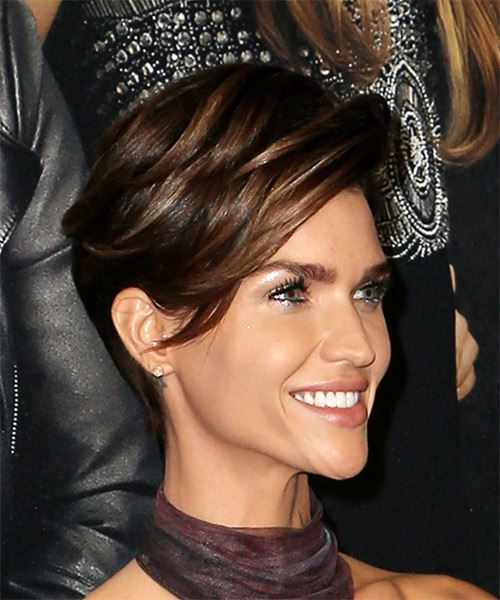 Ruby Rose     Dark Brunette Pixie  Cut with Side Swept Bangs  - Side on View
