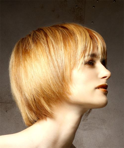 Short Straight Casual Bob  Hairstyle with Layered Bangs  - Light Red - Side on View