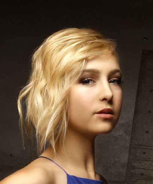 Short Straight Casual  Shag  Hairstyle with Side Swept Bangs  - Light Golden Blonde Hair Color - Side on View