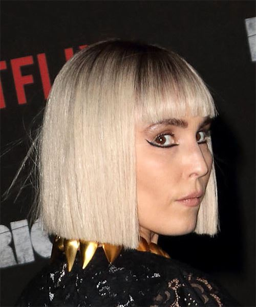 Noomi Rapace Short Straight Formal Bob  Hairstyle with Blunt Cut Bangs  - Light Blonde - Side on View