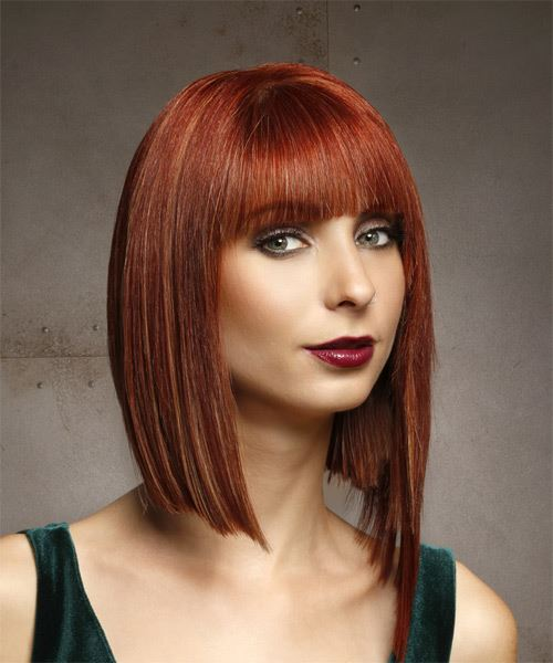 Medium Straight Formal  Asymmetrical  Hairstyle with Blunt Cut Bangs  - Medium Red Hair Color - Side on View