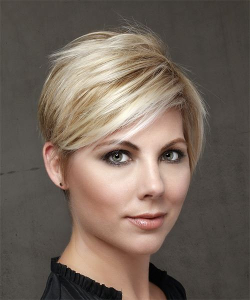Short Straight Casual Pixie  Hairstyle with Side Swept Bangs  - Light Blonde - Side on View