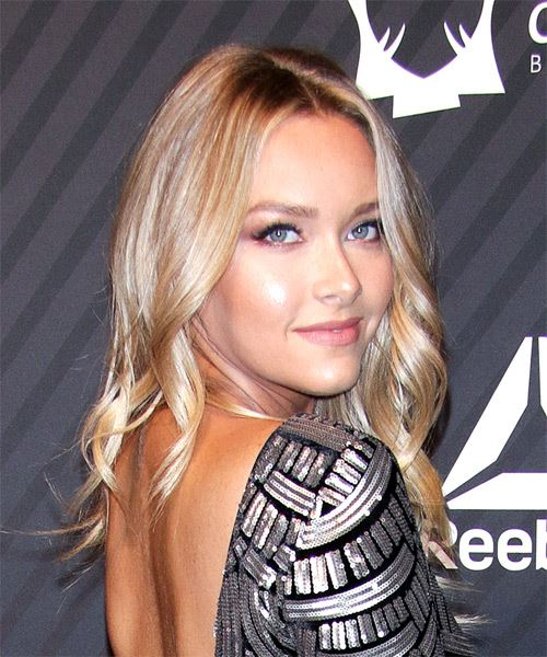 Camille Kostek Long Wavy Casual  Bob  Hairstyle   - Dark Blonde Hair Color - Side on View