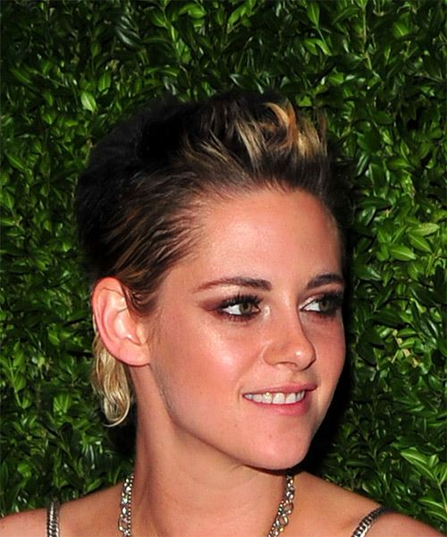 Kristen Stewart Short Straight   Dark Brunette and Light Blonde Two-Tone   Hairstyle   - Side on View