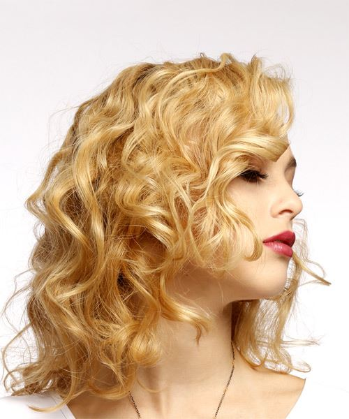 Medium Curly Casual    Hairstyle   - Light Golden Blonde Hair Color - Side on View