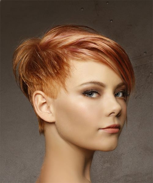 Short Straight Casual  Pixie  Hairstyle with Side Swept Bangs  -  Red Hair Color with Light Blonde Highlights - Side on View