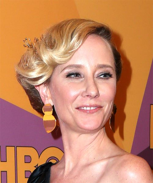 Anne Heche Medium Wavy Casual  Updo Hairstyle with Side Swept Bangs  - Light Blonde - Side on View