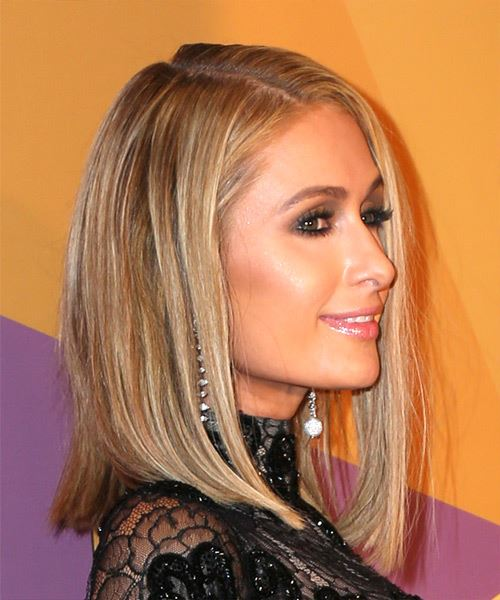 Paris Hilton Medium Straight Formal Bob  Hairstyle   - Light Blonde - Side on View