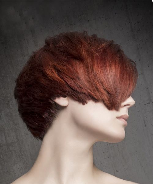Short Straight Casual    Hairstyle with Side Swept Bangs  - Medium Red Hair Color - Side on View