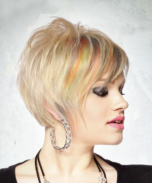 Short Straight Casual  Pixie  Hairstyle with Side Swept Bangs  - Light Blonde Hair Color - Side on View