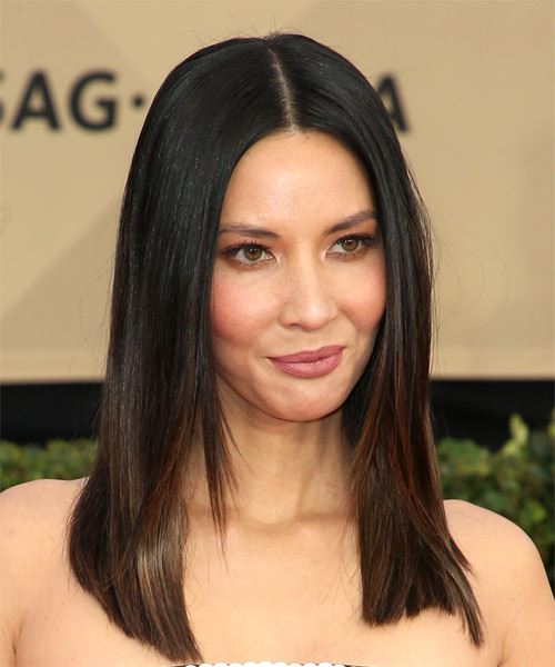 Olivia-Munn Medium Straight Formal Bob  Hairstyle   - Dark Brunette - Side on View