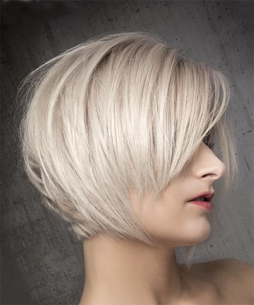 Short Straight Formal Bob  Hairstyle with Side Swept Bangs  - Light Blonde (Ash) - Side on View