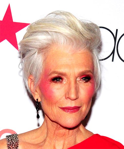 Maye Musk Short Straight Casual  Pixie  Hairstyle   - Light Grey Hair Color - Side on View